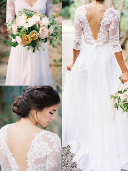 A-Line/Princess Chiffon Applique V-neck 1/2 Sleeves Floor-Length White Wedding Dresses
