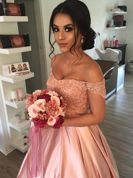Ball Gown Satin Ruffles Off-the-Shoulder Sleeveless Cathedral Train Pink Wedding Dresses