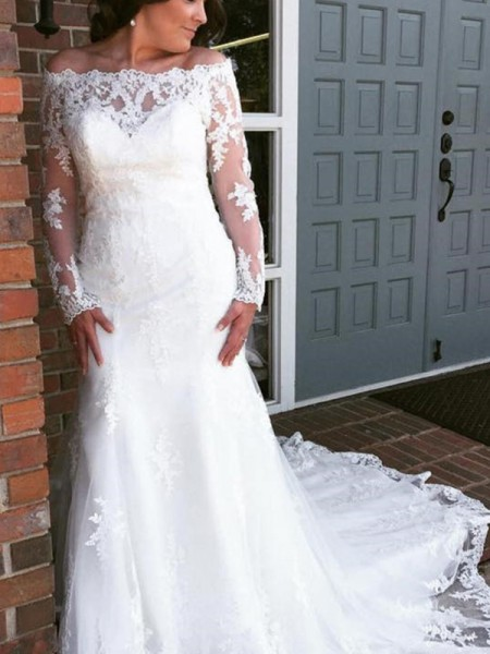 Trumpet/Mermaid Tulle Applique Off-the-Shoulder Long Sleeves Cathedral Train White Wedding Dresses