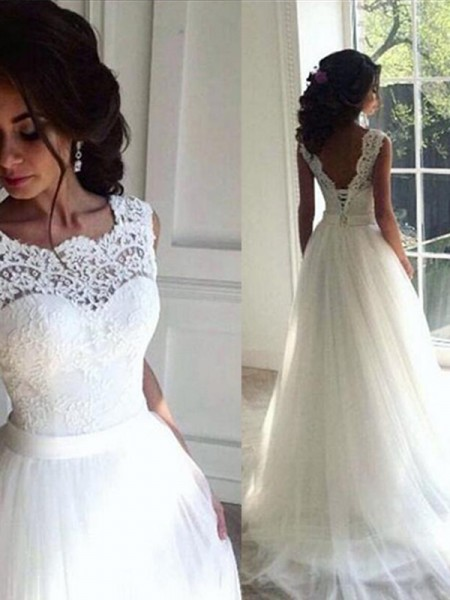 A-Line/Princess Tulle Sash/Ribbon/Belt Bateau Sleeveless Sweep/Brush Train White Wedding Dresses