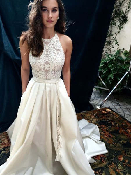 A-Line/Princess Satin Lace Halter Sleeveless Sweep/Brush Train Ivory Wedding Dresses