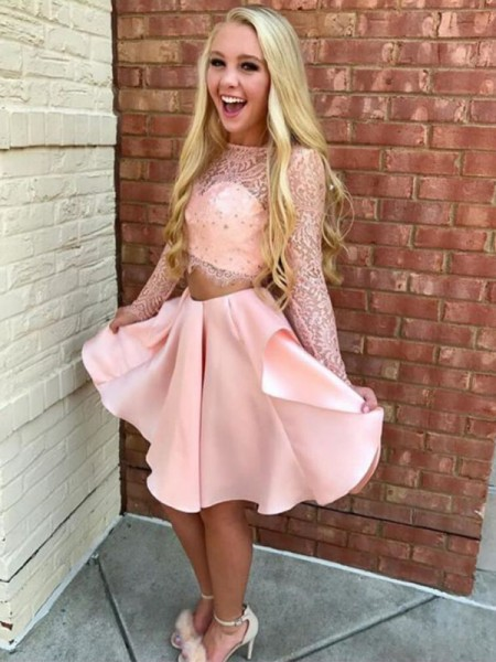 A-Line/Princess Satin High Neck Lace Long Sleeves Short/Mini Two Piece Dresses