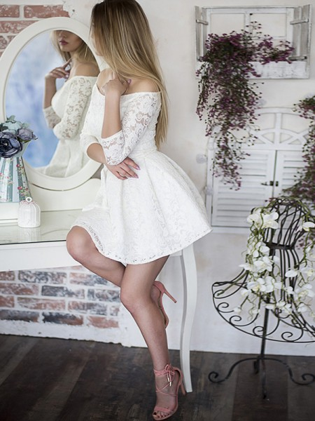 A-Line/Princess Off-the-Shoulder Lace Short/Mini 3/4 Sleeves Dresses