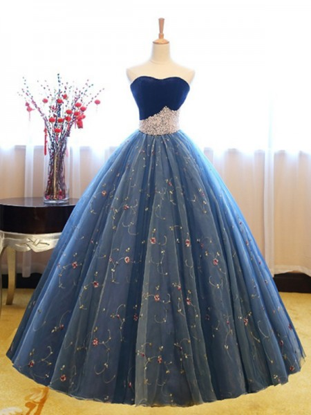 Ball Gown Sweetheart Net Floor-Length Sleeveless Dresses