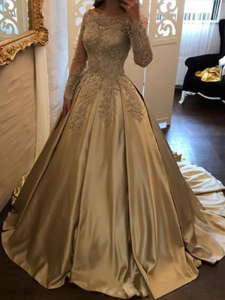 Ball Gown Off-the-Shoulder Satin Sweep/Brush Train Long Sleeves Dresses