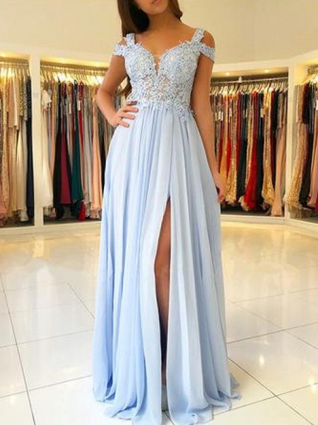 A-Line/Princess Off-the-Shoulder Chiffon Floor-Length Sleeveless Dresses