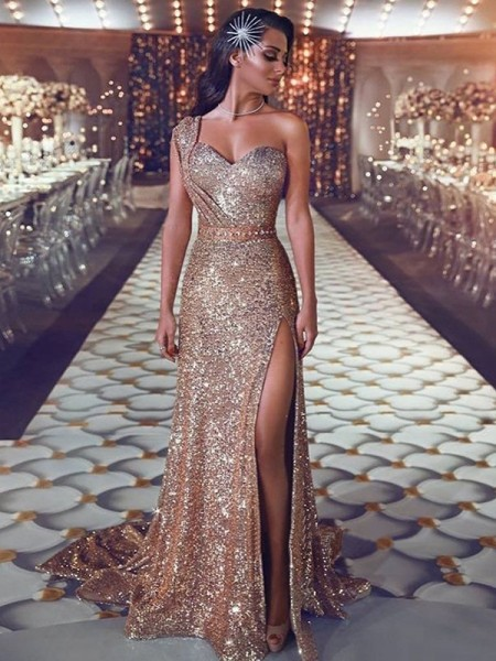 Sheath/Column Sweep/Brush Train Beading One-Shoulder Sleeveless Sequins Dresses