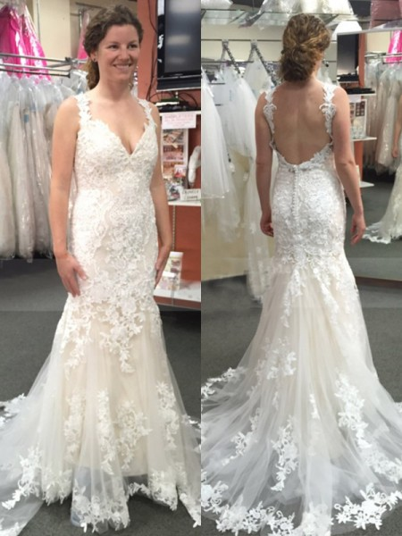 Trumpet/Mermaid Sweep/Brush Train Applique Tulle Straps Sleeveless Wedding Dresses
