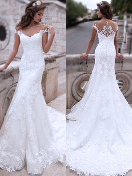 Trumpet/Mermaid Sweep/Brush Train Applique Tulle Off-the-Shoulder Sleeveless Wedding Dresses