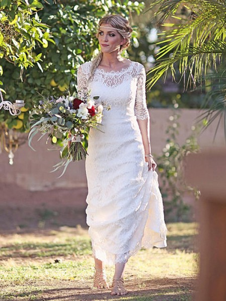 Sheath/Column Sweep/Brush Train Lace Bateau 1/2 Sleeves Wedding Dresses