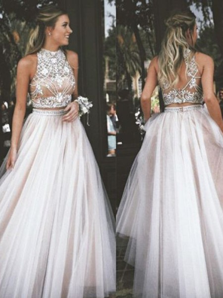 A-Line/Princess Sleeveless High Neck Long Ivory Tulle Prom Dresses