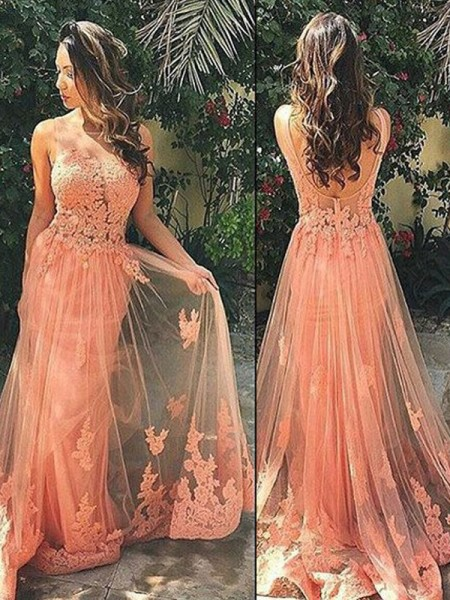A-Line/Princess Sleeveless Straps Sweep Train Orange Tulle Prom Dresses