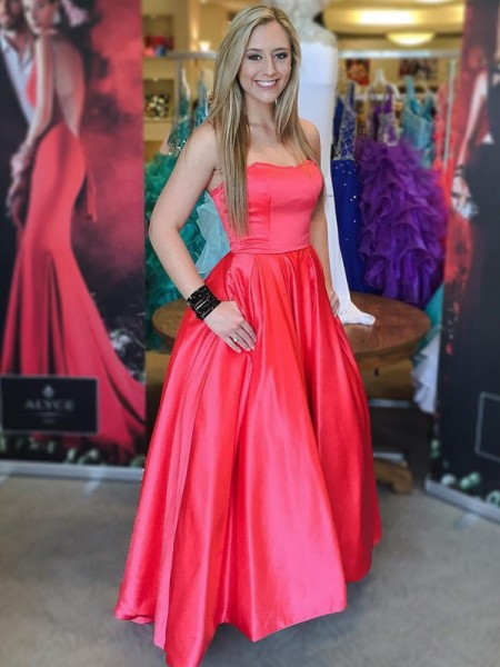 Ball Gown Sleeveless Sweetheart Long Red Satin Prom Dresses