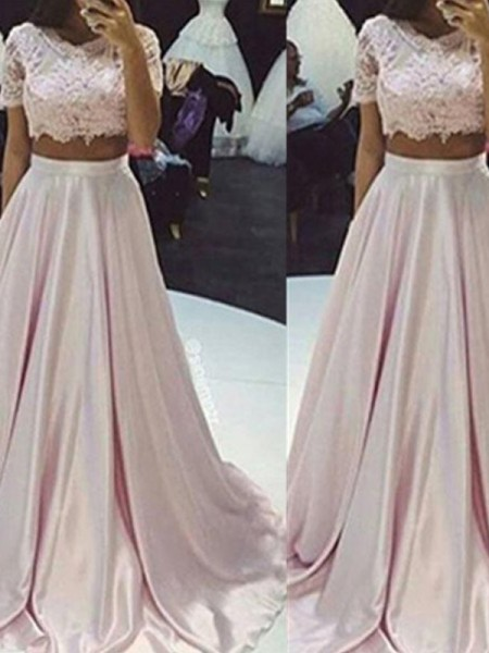 A-Line/Princess Sleeveless Scoop Long Pink Taffeta Prom Dresses