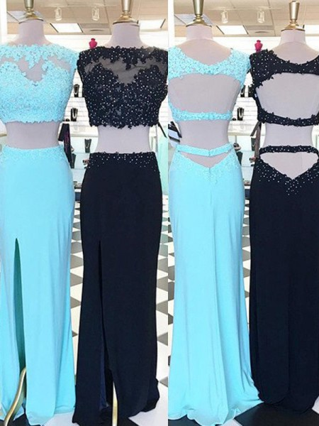 Sheath/Column Sleeveless Scoop Long Blue,Black Satin Prom Dresses