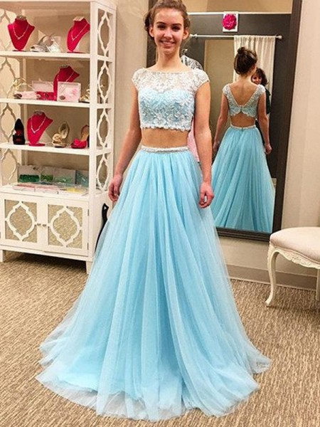 A-Line/Princess Sleeveless Scoop Long Light Sky Blue Tulle Prom Dresses