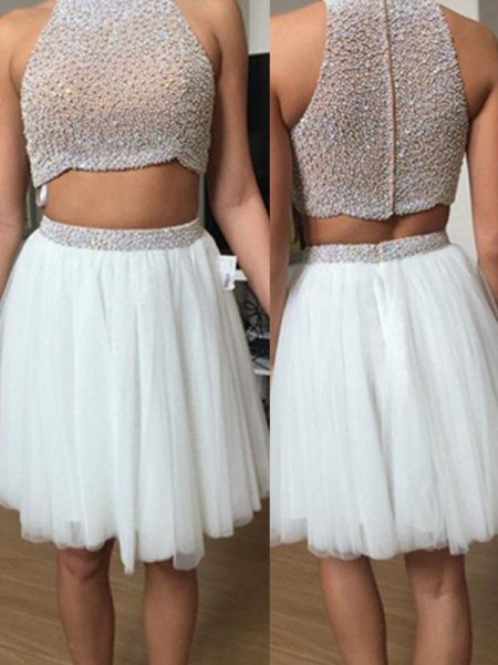 A-Line/Princess Sleeveless High Neck Short White Tulle Prom Dresses