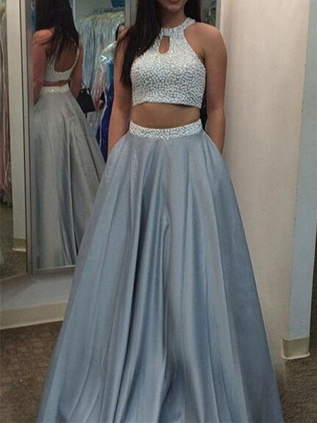 A-Line/Princess Sleeveless Halter Long Silver Satin Prom Dresses