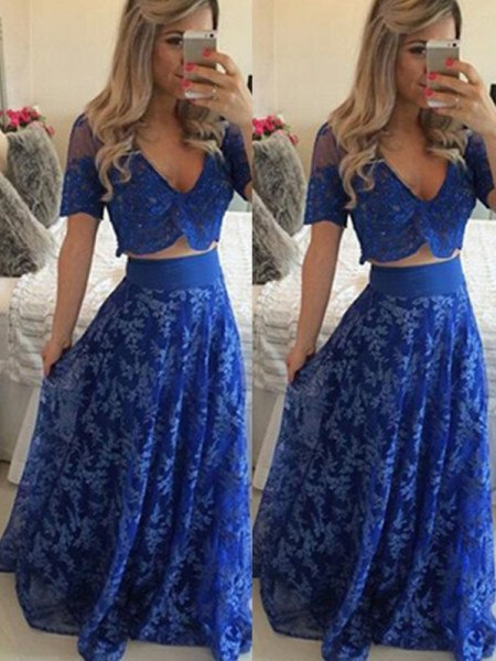 A-Line/Princess Short Sleeves V-neck Long Royal Blue Lace Prom Dresses