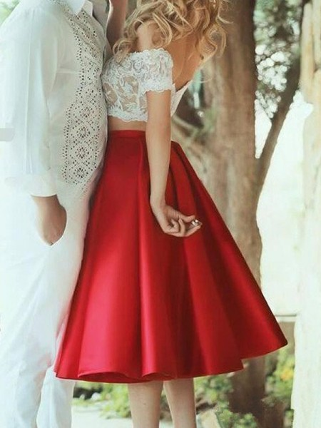 A-Line/Princess Sleeveless Off-the-Shoulder Knee-Length Red Satin Prom Dresses