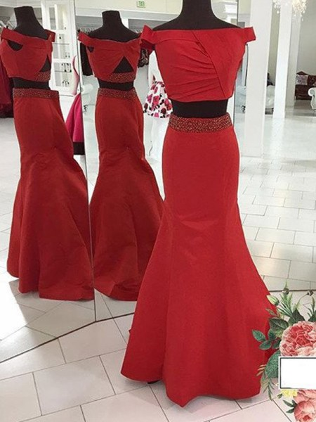 Mermaid Sleeveless Off-the-Shoulder Sweep Train Red Satin Prom Dresses