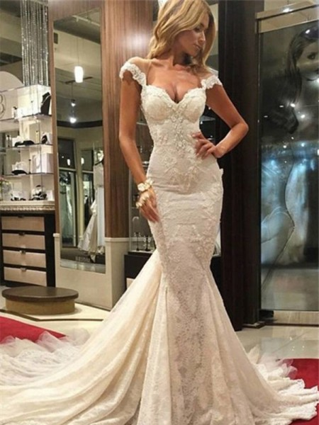 Mermaid Sleeveless V-neck Chapel Train White Lace Wedding Dresses