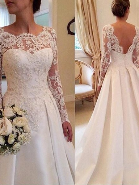 Ball Gown Long Sleeves Scoop Court Train White Satin Wedding Dresses