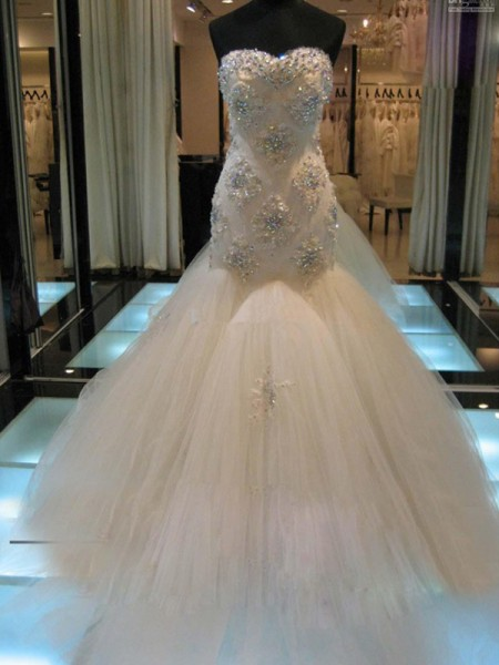 Mermaid Sleeveless Sweetheart Chapel Train White Tulle Wedding Dresses