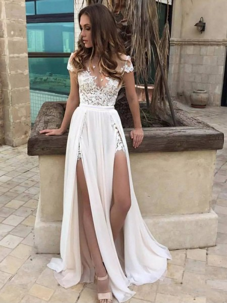 A-Line/Princess Sleeveless V-neck Long White Chiffon Wedding Dresses