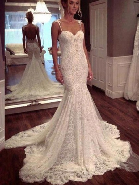 Mermaid Sleeveless Spaghetti Straps Court Train White Lace Wedding Dresses