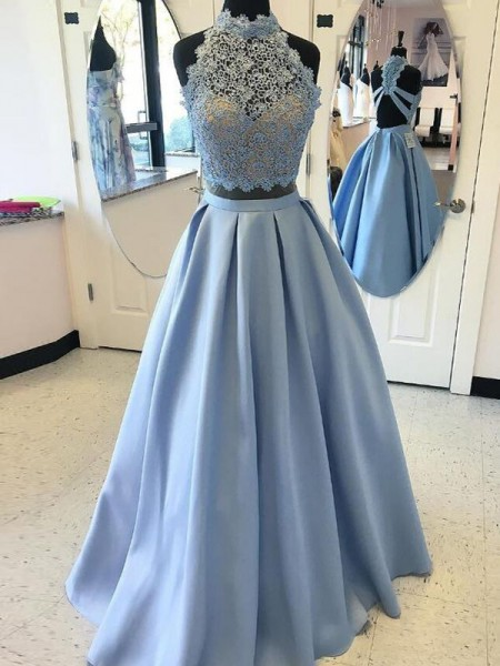 Ball Gown Sleeveless High Neck Long Light Sky Blue Satin Prom Dresses