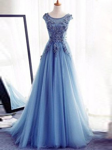 Ball Gown Sleeveless Jewel Long Light Sky Blue Tulle Prom Dresses