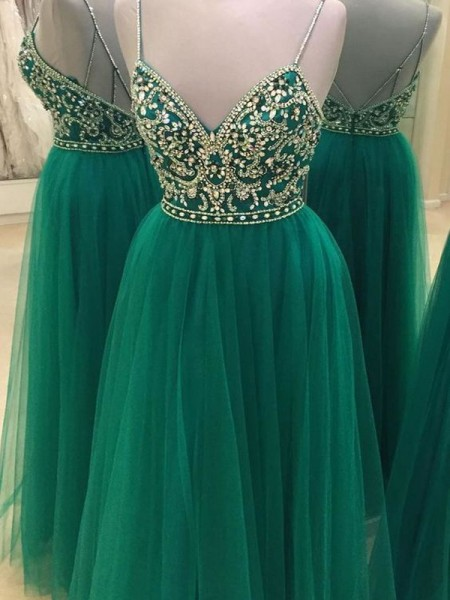 A-Line/Princess Sleeveless Spaghetti Straps Long Green Tulle Prom Dresses
