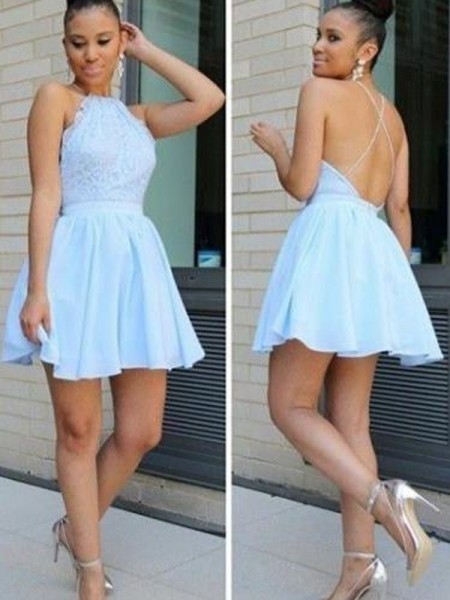 A-line/Princess Sleeveless Halter Short Light Sky Blue Chiffon Homecoming Dresses