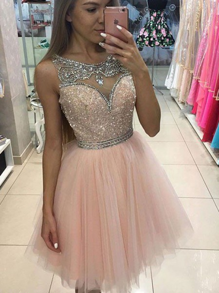 A-line/Princess Sleeveless Scoop Short Pink Tulle Homecoming Dresses