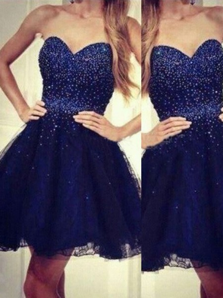 A-line/Princess Sleeveless Sweetheart Short Dark Navy Tulle Homecoming Dresses