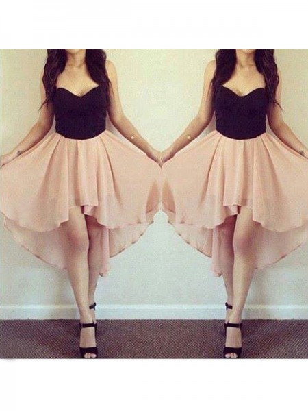 A-line/Princess Sleeveless Sweetheart Short Pink Chiffon Homecoming Dresses