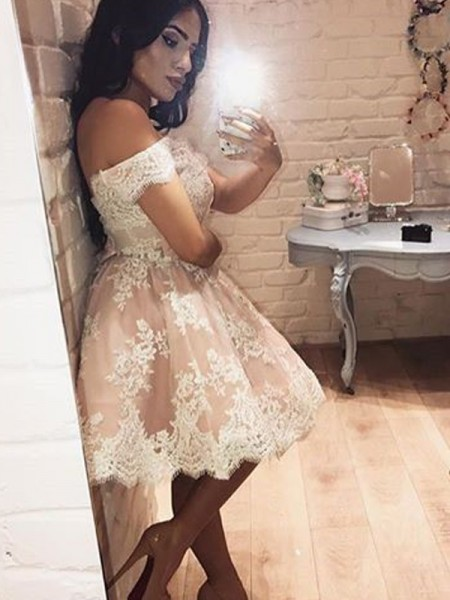 A-line/Princess Sleeveless Off-the-Shoulder Short Champagne Lace Homecoming Dresses