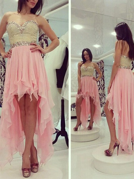 A-line/Princess Sleeveless Sweetheart Asymmetrical Pink Chiffon Homecoming Dresses