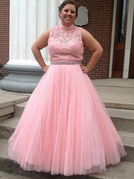 Ball Gown Sleeveless High Neck Long Pink Tulle Prom Dresses