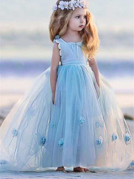 Ball Gown Sleeveless Bateau Long Light Sky Blue Tulle Flower Girl Dresses