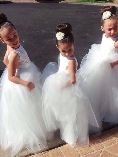 Ball Gown Sleeveless Jewel Long White Tulle Flower Girl Dresses