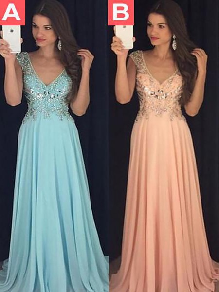 A-Line/Princess Sleeveless V-neck Long Light Sky Blue,Orange Chiffon Prom Dresses