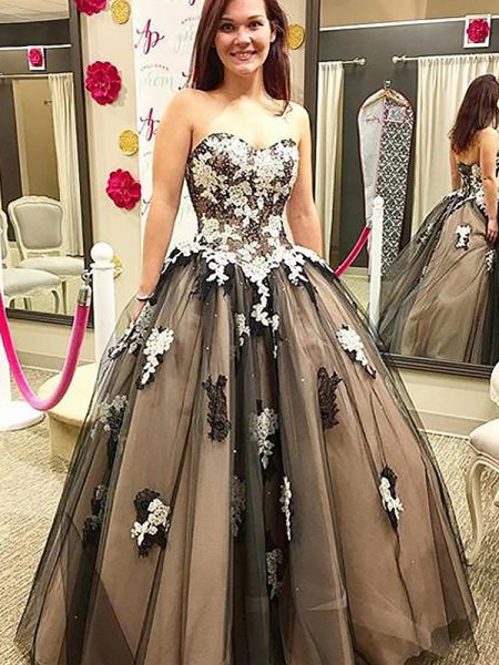 Ball Gown Sleeveless Sweetheart Long Black Tulle Prom Dresses