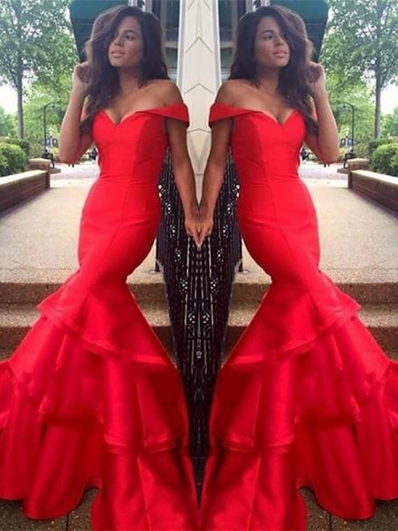 Mermaid Sleeveless Off-the-Shoulder Sweep Train Red,White,Royal Blue,Black Taffeta Prom Dresses
