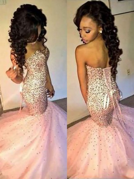 Mermaid Sleeveless Sweetheart Floor-Length Pink Tulle Prom Dresses