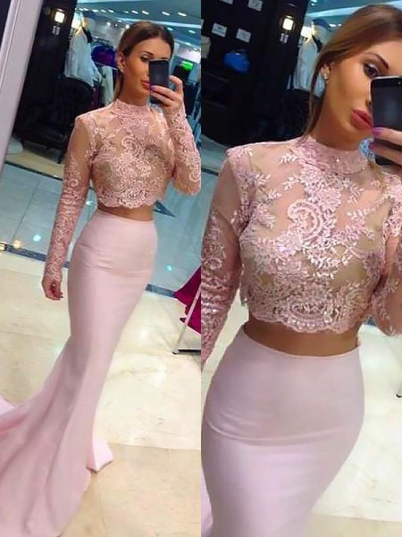 A-Line/Princess Long Sleeves High Neck Sweep Train Pink Satin Prom Dresses