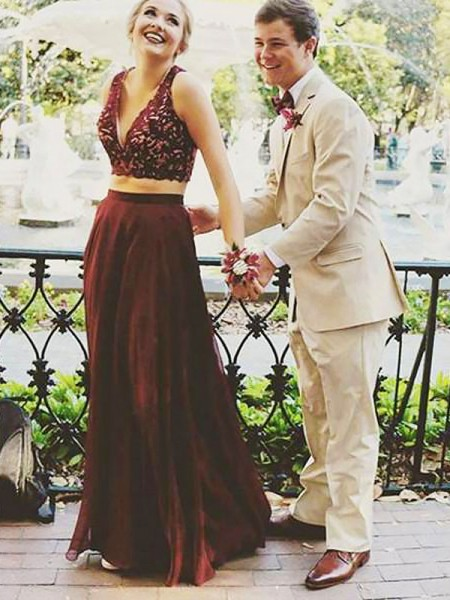 A-Line/Princess Sleeveless V-neck Long Burgundy,Red Chiffon Prom Dresses