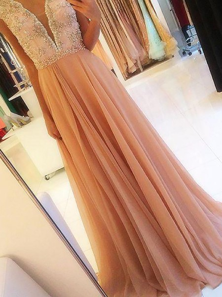 A-Line/Princess Sleeveless V-neck Long Pink Chiffon Prom Dresses