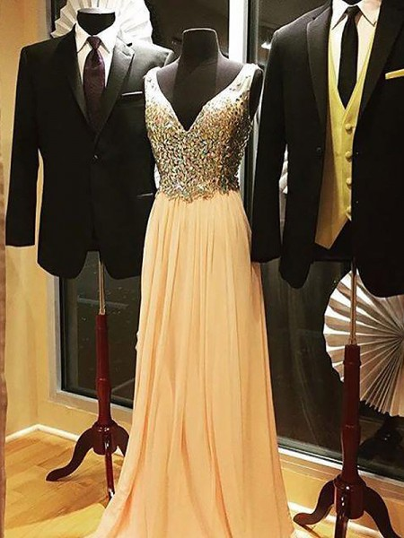 A-Line/Princess Sleeveless V-neck Sweep Train Champagne Chiffon Prom Dresses